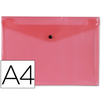 Carpeta Beautone dossier broche polipropileno tamaño A4 roja transparente