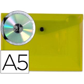 Carpeta Beautone dossier broche polipropileno tamaño A5 amarillo transparente