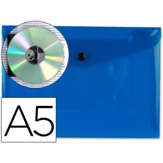 Carpeta Beautone dossier broche polipropileno tamaño A5 azul transparente