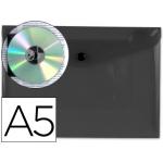 Liderpapel DS23 - Dossier con broche, A5, 180 micras, capacidad para 50 hojas, color negro transparente