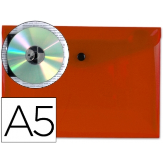 Carpeta Beautone dossier broche polipropileno tamaño A5 roja transparente