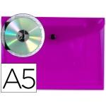 Liderpapel DS24 - Dossier con broche, A5, 180 micras, capacidad para 50 hojas, color violeta transparente