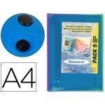 Carpeta Beautone dossier broche transparente tamaño A4 colores surtidos (paquete de 5 retractilado)