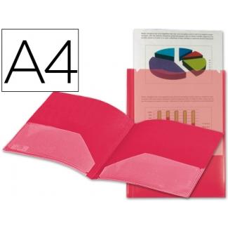 Carpeta Beautone dossier dos bolsas canguros polipropileno tamaño A4 color roja