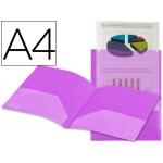 Carpeta Beautone dossier dos bolsas canguros polipropileno tamaño A4 violeta transparente