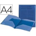 Carpeta Beautone dossier dos bolsas polipropilenodin tamaño A4 azul transparente