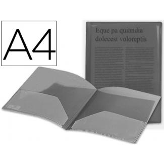 Carpeta Beautone dossier dos bolsas polipropilenodin tamaño A4 negra transparente