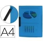 Carpeta Beautone dossier pinza lateral polipropileno tamaño A4 color azul 30 hojas pinza giratoria