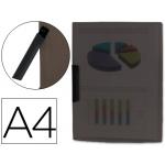 Liderpapel DP17 - Dossier con pinza lateral, A4, capacidad para 30 hojas, pinza giratoria, color negro