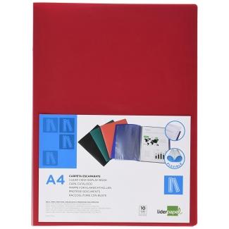 Carpeta Beautone escaparate 10 fundas polipropileno tamaño A4 color roja