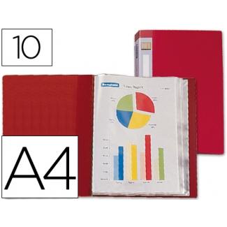 Carpeta Beautone escaparate 10 fundas polipropileno tamaño A4 color roja lomo personalizable
