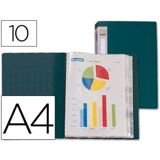 Carpeta Beautone escaparate 10 fundas polipropileno tamaño A4 color verde lomo personalizable