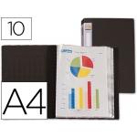 Carpeta Beautone escaparate 10 fundas polipropileno tamaño A4 negra lomo personalizable