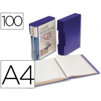 Liderpapel CJ64 - Carpeta con fundas, portada y lomo personalizable, con cajetín, tapa flexible, A4, 100 fundas, color azul opaco