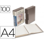 Carpeta Beautone escaparate 100 fundas polipropilenodin tamaño A4 color gris con cajetin