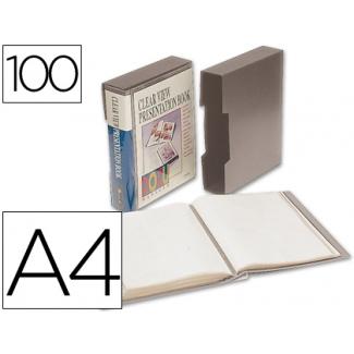 Carpeta Beautone escaparate 100 fundas polipropilenodin tamaño A4 color gris con cajetin