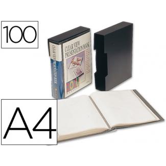 Liderpapel CJ65 - Carpeta con fundas, portada y lomo personalizable, con cajetín, tapa flexible, A4, 100 fundas, color negro opaco