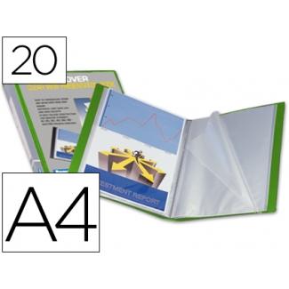 Carpeta Beautone escaparate 20 fundas canguro polipropileno tamaño A4 color verde portada y lomo personalizable