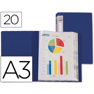 Carpeta Beautone escaparate 20 fundas polipropileno tamaño A3 color azul lomo personalizable