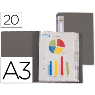Carpeta Beautone escaparate 20 fundas polipropileno tamaño A3 color gris lomo personalizable
