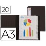 Carpeta Beautone escaparate 20 fundas polipropileno tamaño A3 negra lomo personalizable