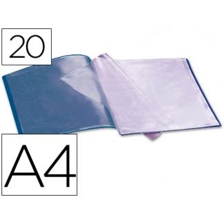 Carpeta Beautone escaparate 20 fundas polipropileno tamaño A4 color azul