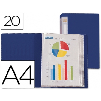 Carpeta Beautone escaparate 20 fundas polipropileno tamaño A4 color azul lomo personalizable