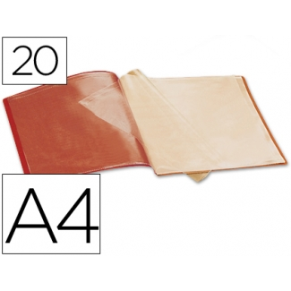 Carpeta Beautone escaparate 20 fundas polipropileno tamaño A4 color roja