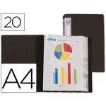 Carpeta Beautone escaparate 20 fundas polipropileno tamaño A4 negra lomo personalizable