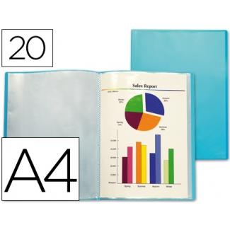 Carpeta Beautone escaparate 20 fundas polipropileno traslucida tamaño A4 color azul frosty