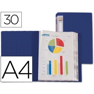 Carpeta Beautone escaparate 30 fundas polipropileno tamaño A4 color azul lomo personalizable