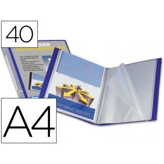 Carpeta Beautone escaparate 40 fundas polipropileno tamaño A4 color azul portada y lomo personalizable