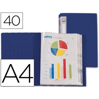 Carpeta Beautone escaparate 40 fundas polipropileno tamaño A4 color azul lomo personalizable