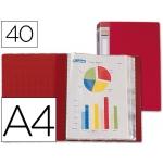 Carpeta Beautone escaparate 40 fundas polipropileno tamaño A4 color roja lomo personalizable