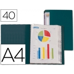 Carpeta Beautone escaparate 40 fundas polipropileno tamaño A4 color verde lomo personalizable