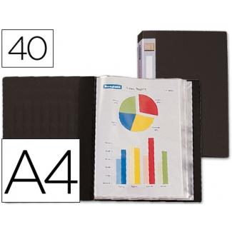 Carpeta Beautone escaparate 40 fundas polipropileno tamaño A4 negra lomo personalizable