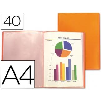 Carpeta Beautone escaparate 40 fundas polipropileno traslucida tamaño A4 color naranja frosty