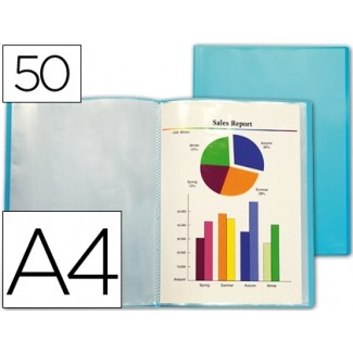 Carpeta Beautone escaparate 50 fundas polipropileno traslucida tamaño A4 color azul frosty