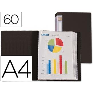 Carpeta Beautone escaparate 60 fundas polipropileno tamaño A4 negra lomo personalizable