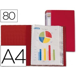 Carpeta Beautone escaparate 80 fundas polipropileno tamaño A4 color roja lomo personalizable