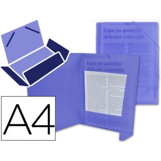 Liderpapel CG69 - Carpeta de plástico con gomas, con tres solapas, lomo flexible, tamaño A4, color azul translúcido