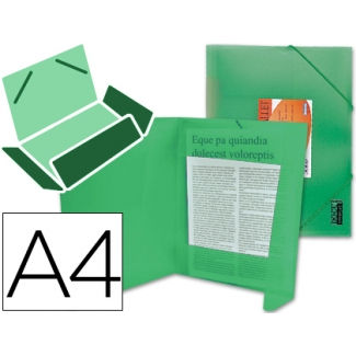 Liderpapel CG75 - Carpeta de plástico con gomas, con tres solapas, lomo flexible, tamaño A4, color verde translúcido