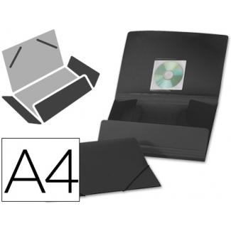 Liderpapel CG67 - Carpeta de plástico con gomas, con tres solapas, lomo flexible, tamaño A4, color negro opaco