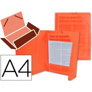 Liderpapel CG68 - Carpeta de plástico con gomas, con tres solapas, lomo flexible, tamaño A4, color rojo translúcido