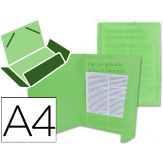 Liderpapel CG70 - Carpeta de plástico con gomas, con tres solapas, lomo flexible, tamaño A4, color verde translúcido