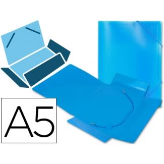 Liderpapel SS02 - Carpeta de plástico con gomas, con tres solapas, lomo flexible, tamaño A5, color azul translúcido