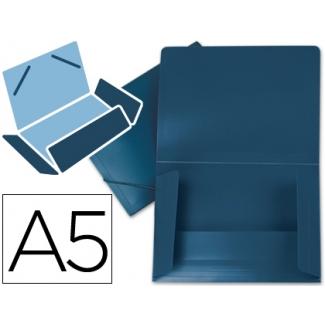 Liderpapel SS08 - Carpeta de plástico con gomas, con tres solapas, lomo flexible, tamaño A5, color azul opaco