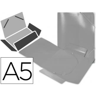 Liderpapel SS04 - Carpeta de plástico con gomas, con tres solapas, lomo flexible, tamaño A5, translúcida