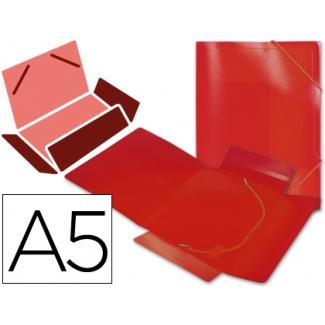 Liderpapel SS01 - Carpeta de plástico con gomas, con tres solapas, lomo flexible, tamaño A5, color rojo translúcido