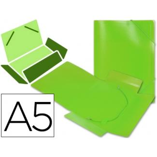Liderpapel SS03 - Carpeta de plástico con gomas, con tres solapas, lomo flexible, tamaño A5, color verde translúcido